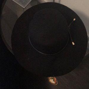 Black felt wide brimmed hat